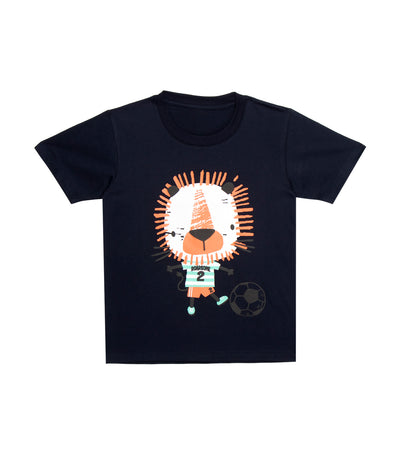 rustan jr. navy blue asher short-sleeve t-shirt with lion achieving goals print