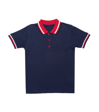 rustan jr. navy blue brent short-sleeved polo shirt with striped collar