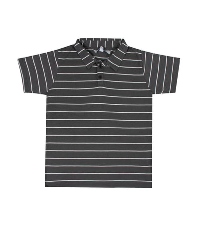 Brennon Striped Collared Shirt with Placket - Dark Gray