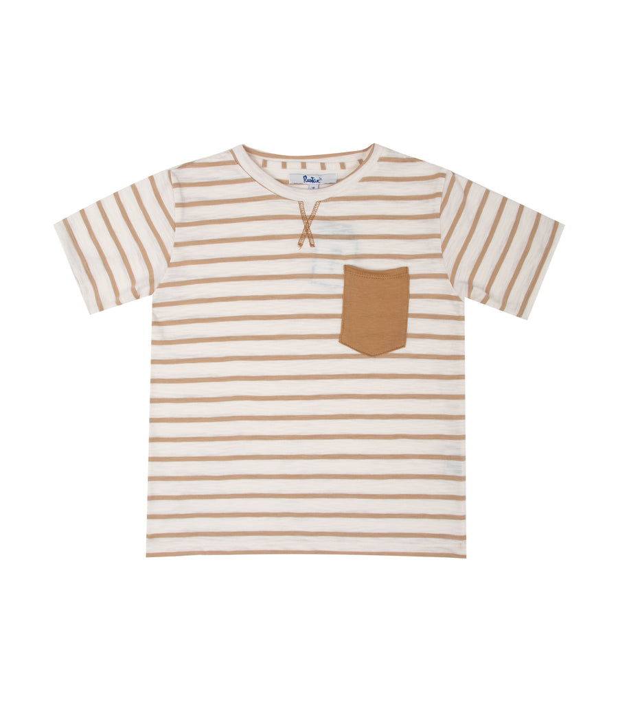 rustan jr. cream riggs striped short-sleeved t-shirt with front pocket