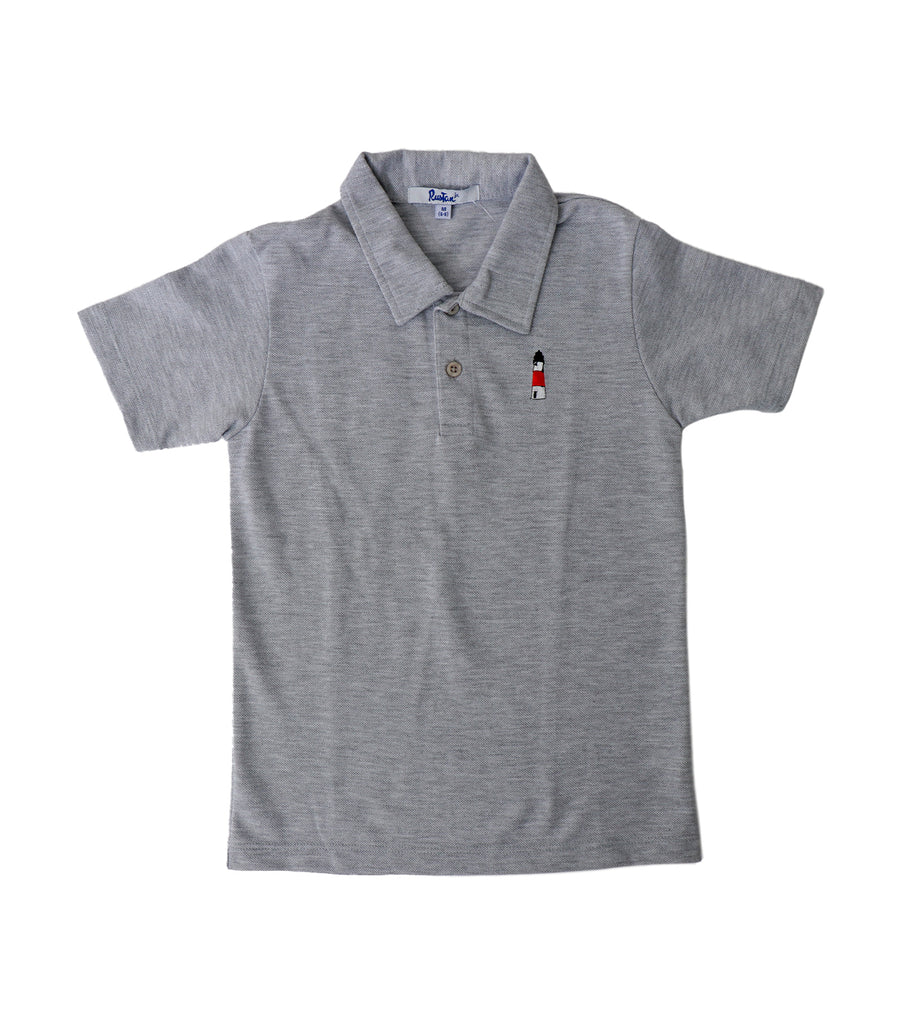 rustan jr. gray marcel polo shirt with embroidery