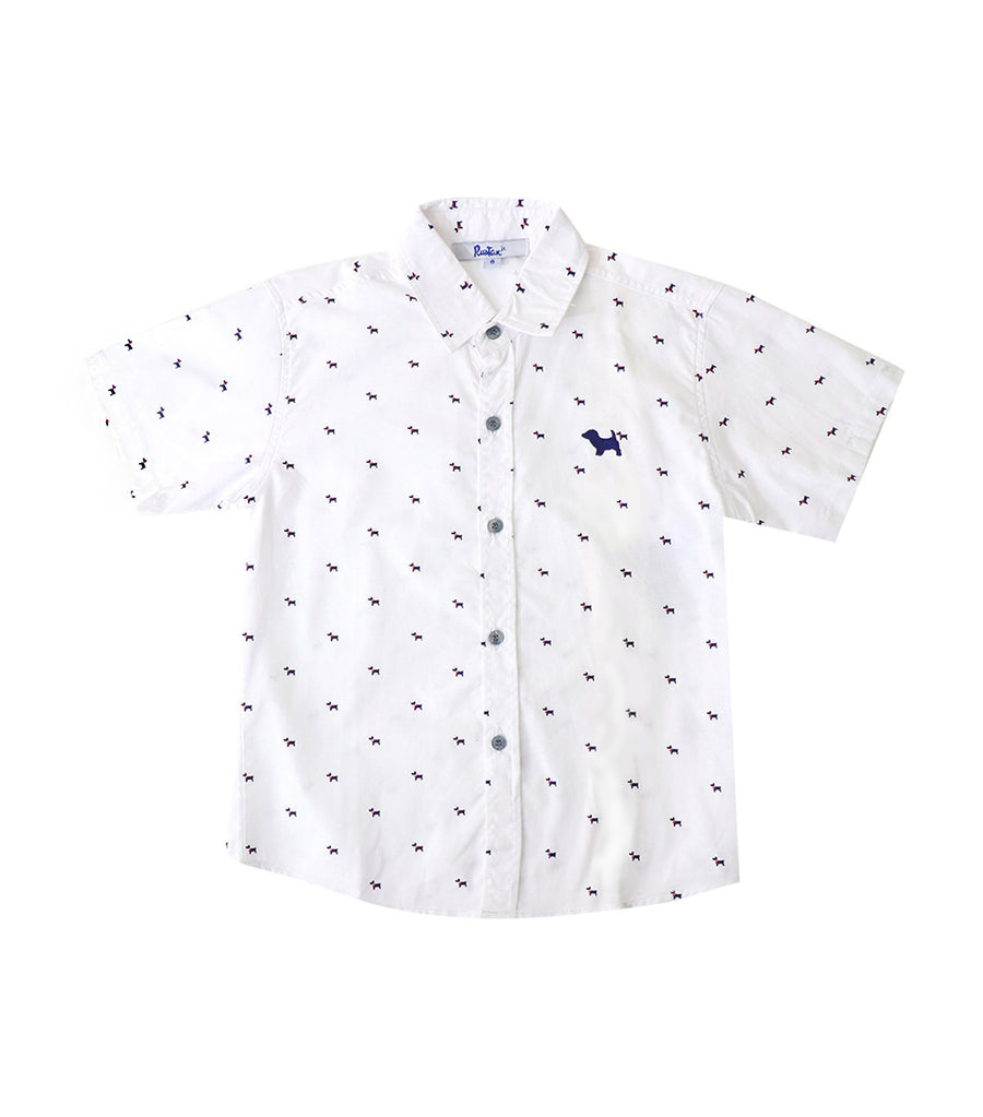rustan jr. white keegan short-sleeved printed polo