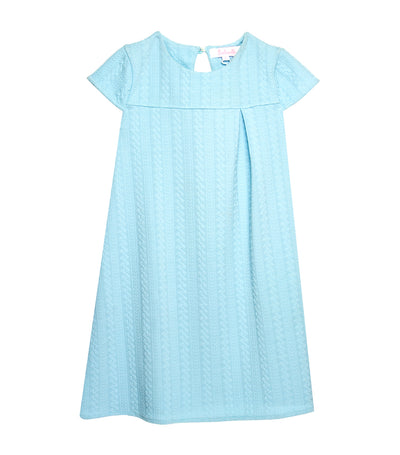 rustanette short-sleeve waffle straight dress - light blue