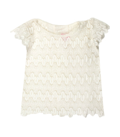 rustanette white short-sleeved lace top