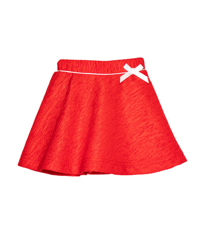 rustanette red textured skirt with ribbon