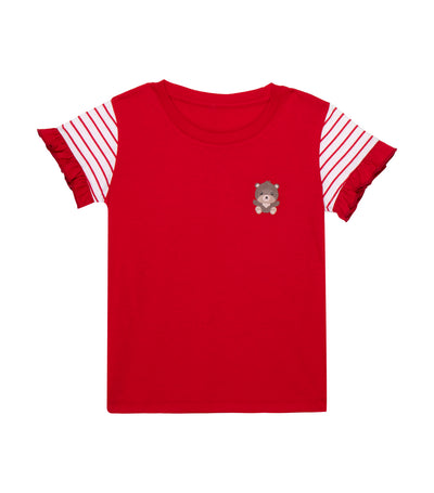 rustanette red glenda short-sleeved stripes t-shirt with bear print