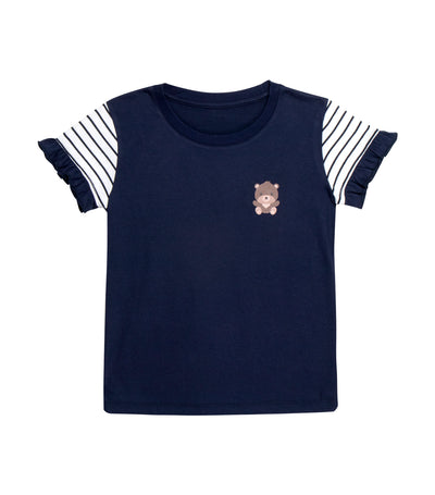 rustanette blue glenda short-sleeved stripes t-shirt with bear print