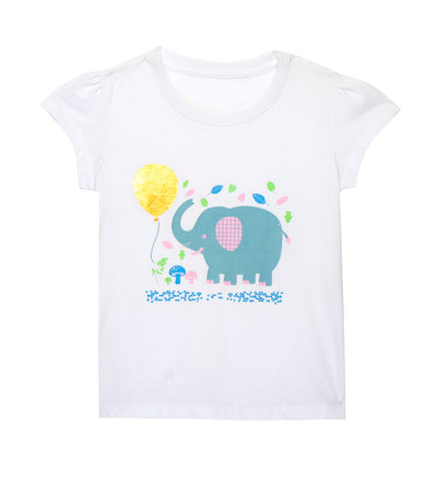 rustanette white greta short-sleeved t-shirt with elephant print