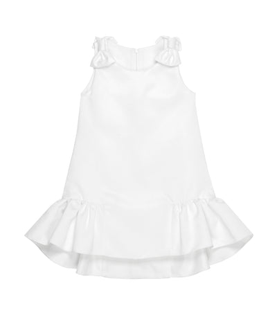 rustanette white dina sleeveless midi dress with bow and ruffle accents
