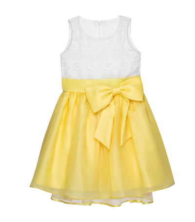 rustanette yellow casey sleeveless midi dress with bow