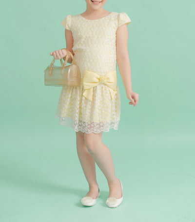 rustanette yellow blake lace dress with bow detail