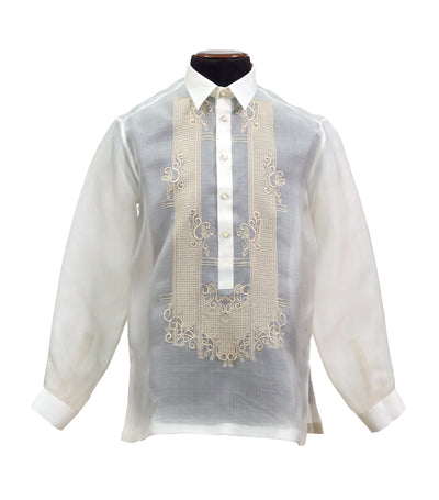 rustan's filipiniana our very own cream mithi barong tagalog with embroidery - benedict