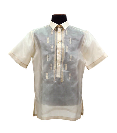 rustan's filipiniana our very own cream mithi natural short sleeves barong - alexander