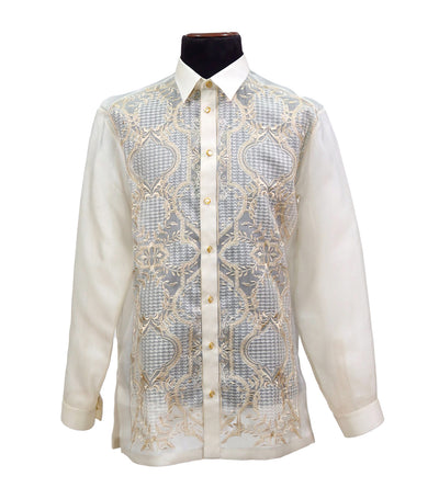 rustan's filipiniana our very own cream mithi men's barong with embroidery - pelaez