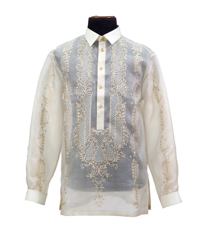 rustan's filipiniana our very own cream mithi barong tagalog with raya embroidery - diosdado
