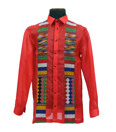rustan's filipiniana our very own red mithi men's colored barong with handwoven detail - hector