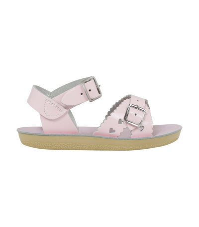 salt-water sandals kids sweetheart premium - shiny pale pink