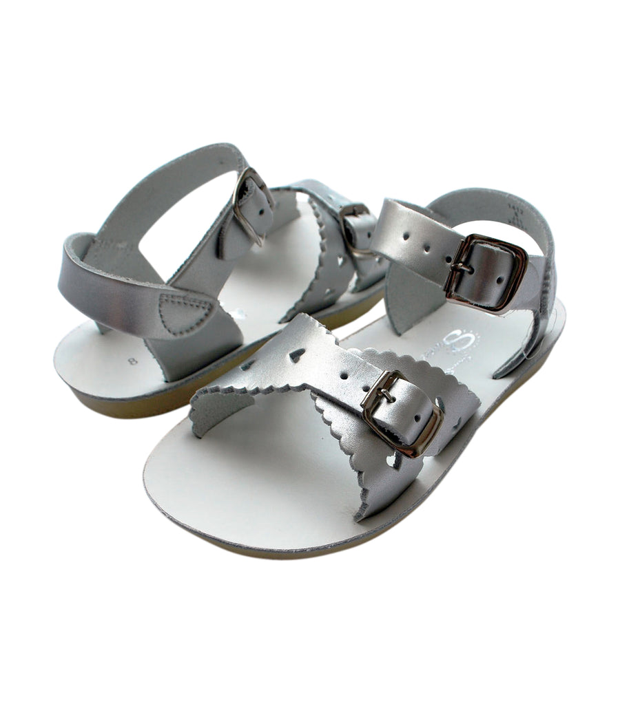 salt-water sandals kids silver sweetheart premium