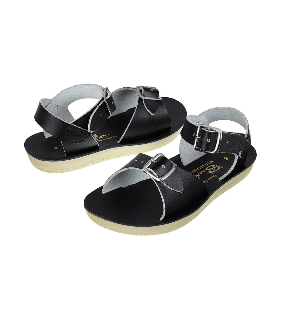 salt-water sandals kids black surfer