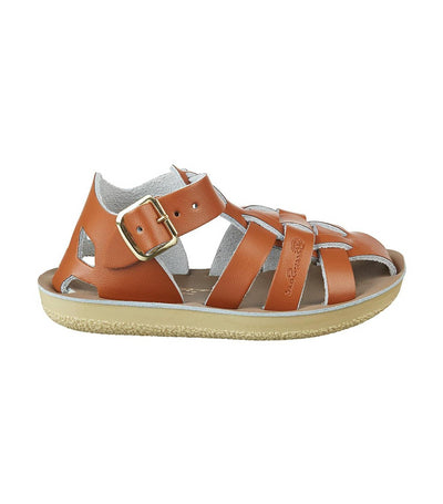 salt-water sandals kids tan shark