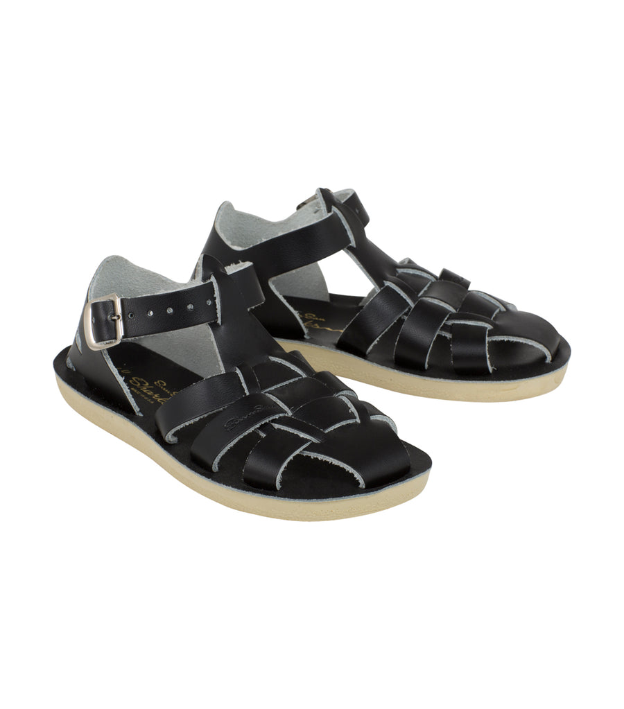 salt-water sandals black kids shark