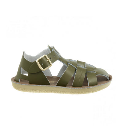 salt-water sandals green kids shark