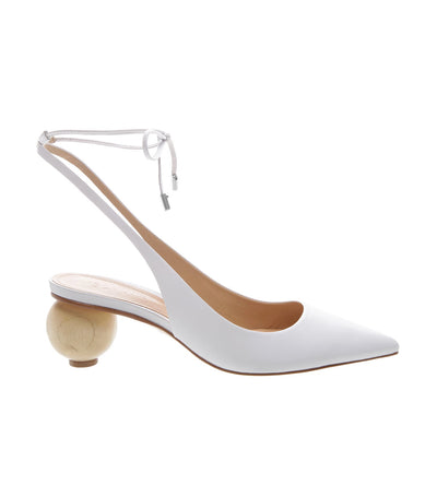 schutz white pointed toe laced scarpin slingback heel