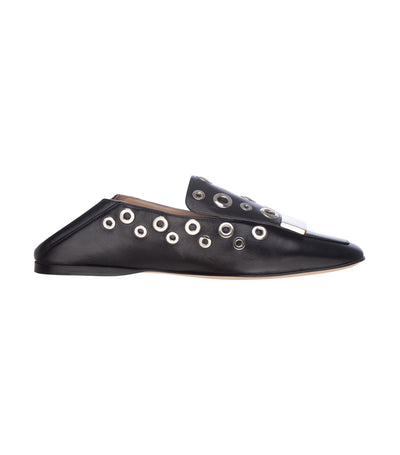 sergio rossi sr1 linda eyelet studded loafers nero