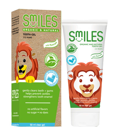 smiles organic and natural tooth gel 50ml - minty bubble gum
