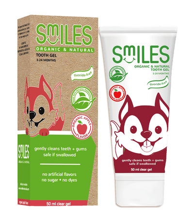 smiles organic and natural tooth gel 50ml - apple