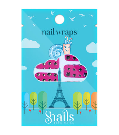 snails nail wraps - pink stars