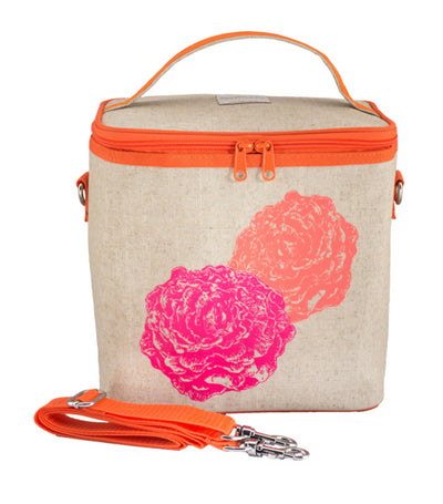 soyoung orange and peonies large cooler bag