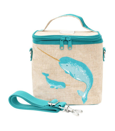 Small Insulated Cooler Bag - Teal Narwhal