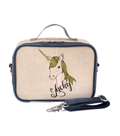 soyoung blue lucky unicorn insulated lunch box