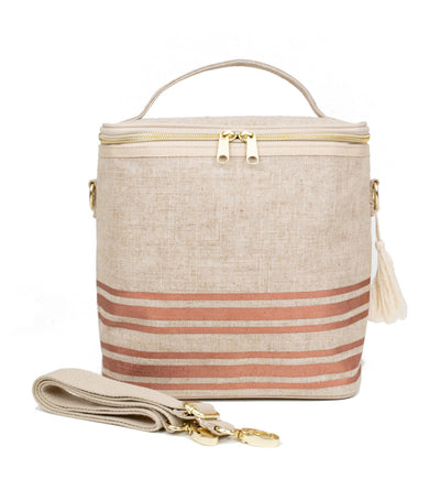 soyoung rose gold horizontal stripe insulated lunch poche