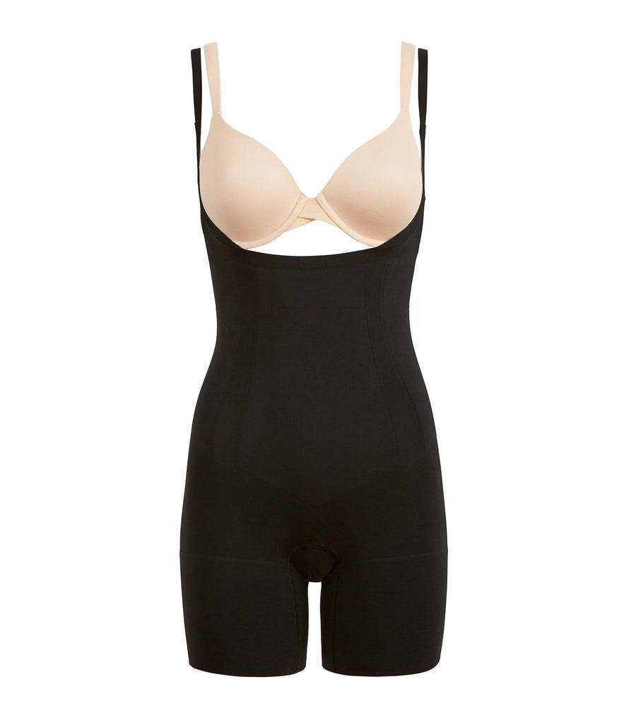 spanx oncore open-bust mid-thigh bodysuit very black