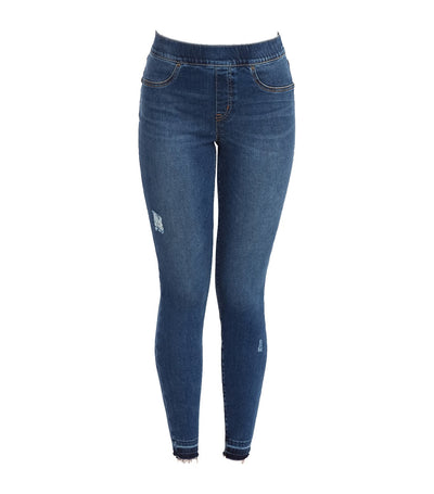 spanx distressed denim leggings medium wash