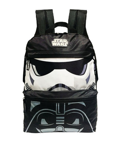 star wars black and white stormtrooper and darth vader backpack