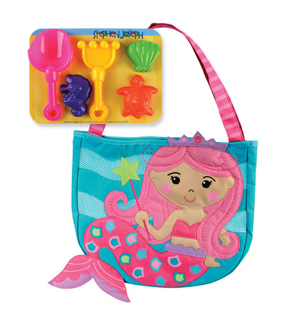 stephen joseph beach tote with sand toy playset - mermaid