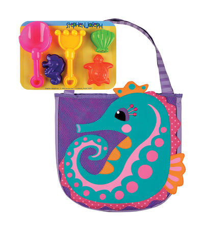 stephen joseph beach tote with sand toy playset - seahorse