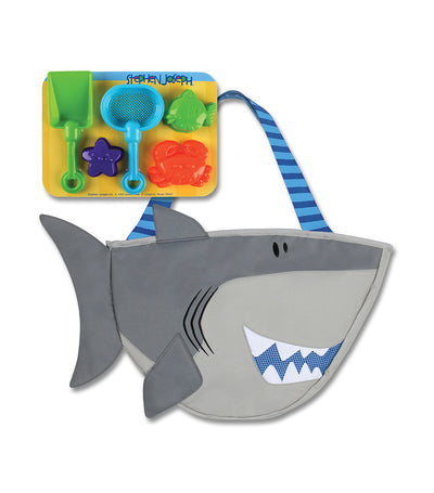 stephen joseph beach tote with sand toy playset - shark