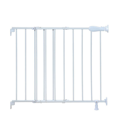 summer white top of stairs simple to secure metal gate