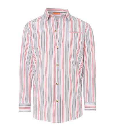 sunuva red and gray striped long-sleeved polo