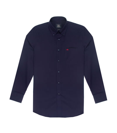 savile row casual long-sleeved plain button-down shirt navy