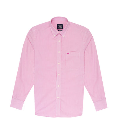 savile row casual long-sleeved stripes button-down shirt dark pink