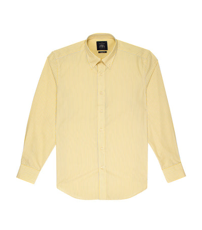 savile row classic long-sleeved stripes button-down shirt yellow and blue