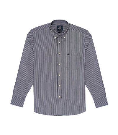 savile row casual long-sleeved stripes button-down shirt black