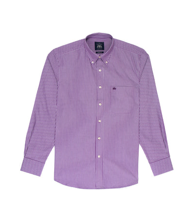 savile row casual long-sleeved stripes button-down shirt dark purple