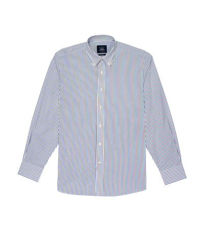savile row classic long-sleeved stripes button-down shirt white and navy