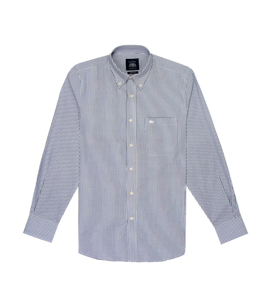 savile row casual long-sleeved stripes button-down shirt gray